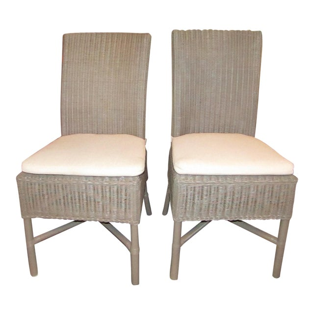 Crate Barrel Wicker Vineyard Dining Side Chair With Cushions