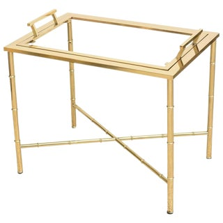 Mastercraft Polished Brass Faux Bamboo Tray Table For Sale