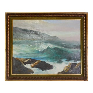 Original Signed 40s Atlantic Seascape Oil Painting For Sale