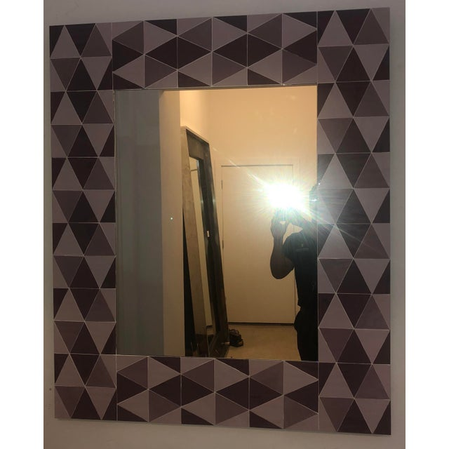 2000 - 2009 Lavender and Mauve Rectangular Geometric Opaline Glass Mirror For Sale - Image 5 of 8