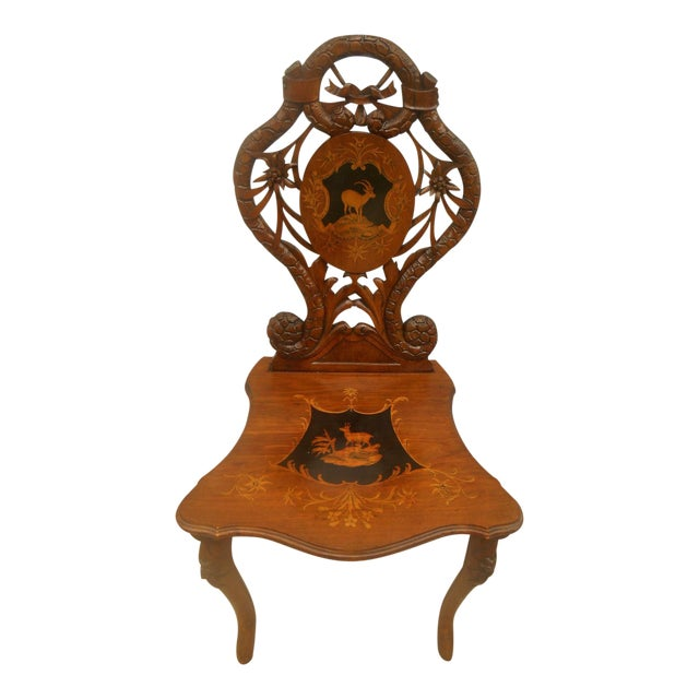 Antique Hand Carved Accent Chair - Image 1 of 8