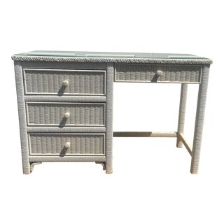 Vintage Henry Link Wrapped Rattan Desk For Sale