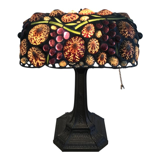 Vintage Stained Glass Desk Lamp For Sale