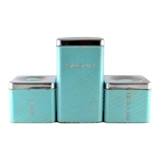 1950s Lincoln Beautyware Turquoise Stackable Metal Canisters - Set of 3 For Sale