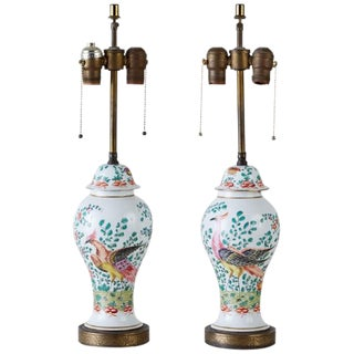 Pair of Chinese Export Painted Porcelain Ginger Jar Lamps For Sale