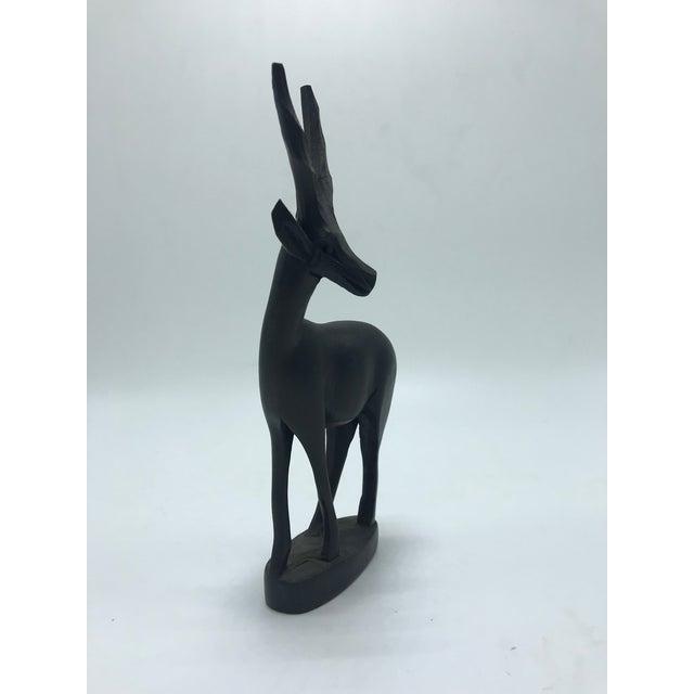 1960s Dark Brown Wood Antelope Sculpture For Sale - Image 5 of 7