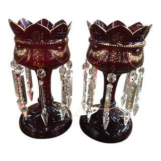 1940s Antique Bohemian Glass Mantle Lusters - a Pair For Sale