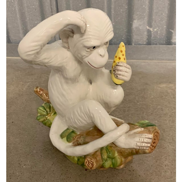 Mid 20th Century Vintage White Italian Ceramic Monkeys - a Pair For Sale - Image 5 of 13