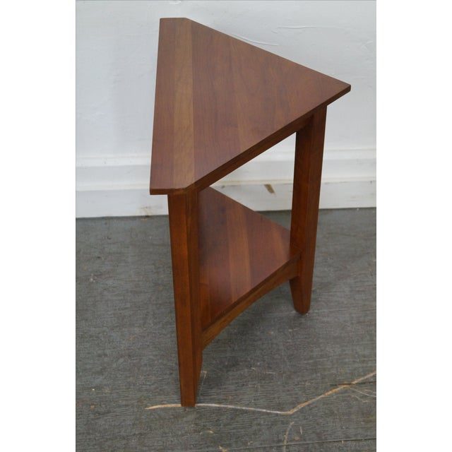 Mission Ethan Allen New Impressions Solid Cherry Triangle Corner Table For Sale - Image 3 of 10