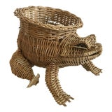 Image of 20th Century Country Wicker Frog Planter Basket For Sale
