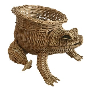 20th Century Country Wicker Frog Planter Basket For Sale