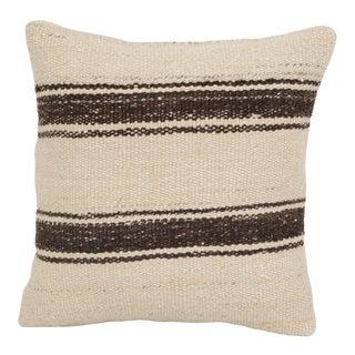 "Vintage Striped Organic Hemp Kilim Pillow 16"" X 16"" For Sale"