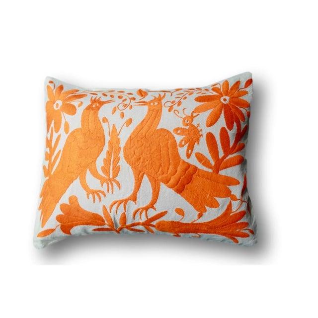 Orange Tenango Pillows - A Pair - Image 4 of 5