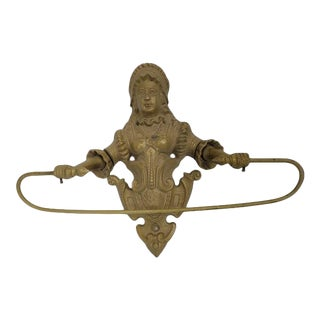 1900s Brass Victorian Lady Wall Hanging Towel Bar For Sale