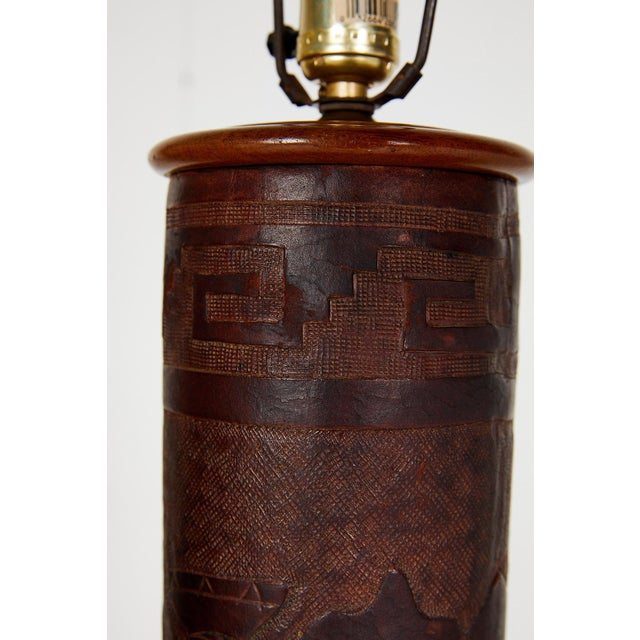 Pair of Vintage Peruvian Leather Lamps W/ Llama and Greek Key Decorations For Sale - Image 10 of 13