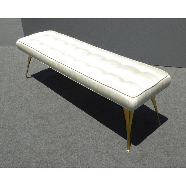 Jonathan Adler Style Mid-Century Modern Bench With Brass Legs - Image 6 of 11