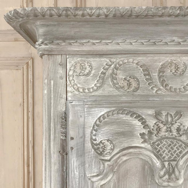 Metal 19th Century Country French Provincial Whitewashed Armoire For Sale - Image 7 of 13