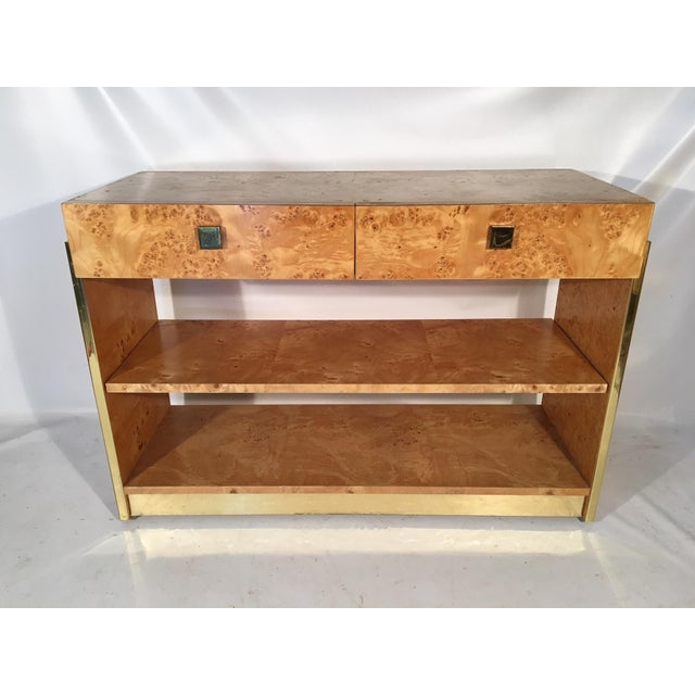 1970s Burl Wood and Brass Rolling Server For Sale - Image 5 of 10