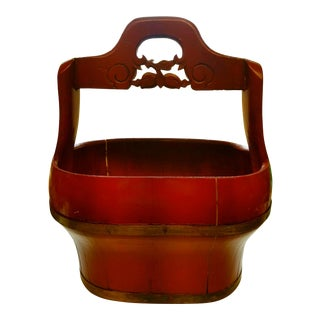 Asian Modern Chinese Red Laquer Wood Basket For Sale