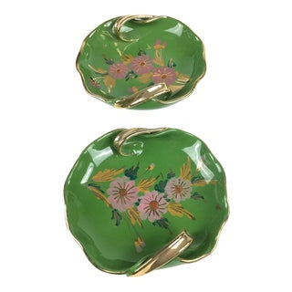 1960s Art Nouveau Hand Painted Italian Trinket Dishes - a Pair For Sale