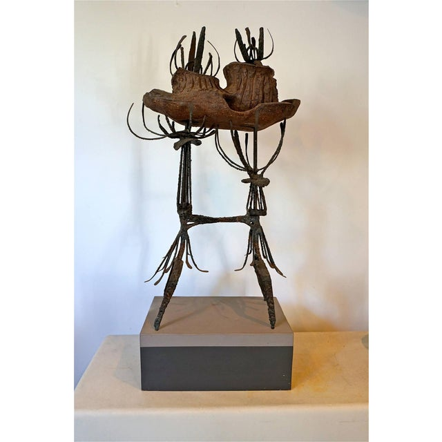 Roloff was a member of the Allied Craftsman of San Diego in the 1960s. This mixed media abstract sculpture stands on the...