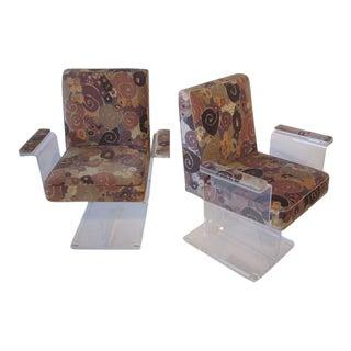 Vladimir Kagan Pedestal Armchairs With Larsen Fabric - a Pair For Sale