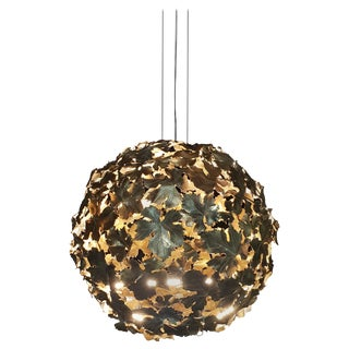 New Chandelier Pendant Ball Lamp in Bronze Featuring a Wine Leaves For Sale