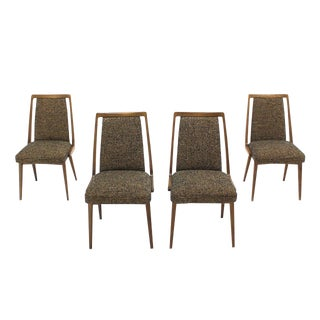 Set of Four Mid-Century Modern Side Dining Chairs New Upholstery For Sale