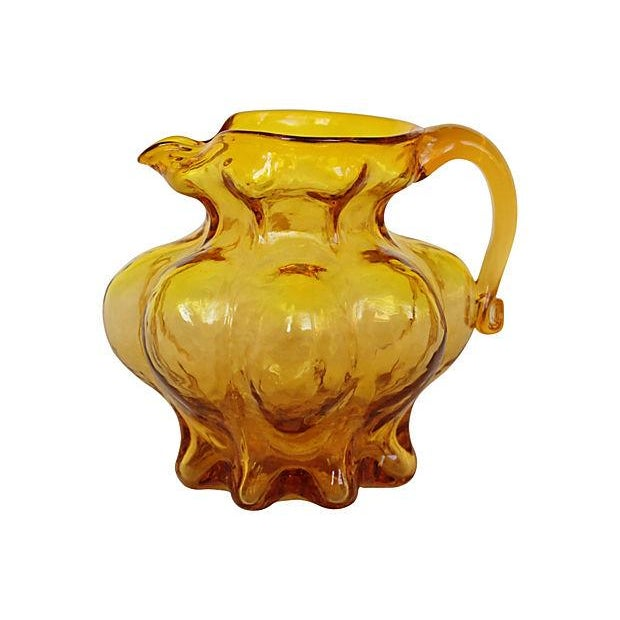 Blown Amber Glass Pitcher - Image 1 of 4