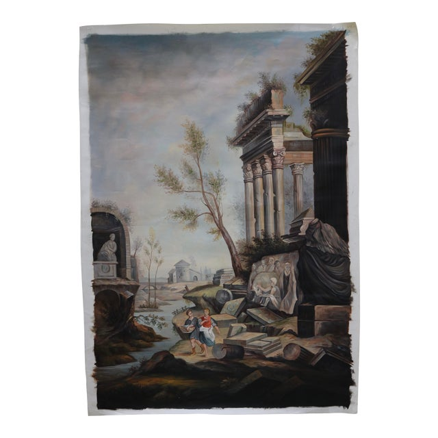 Oil on Canvas Painting of Ancient Ruins Beside a River For Sale