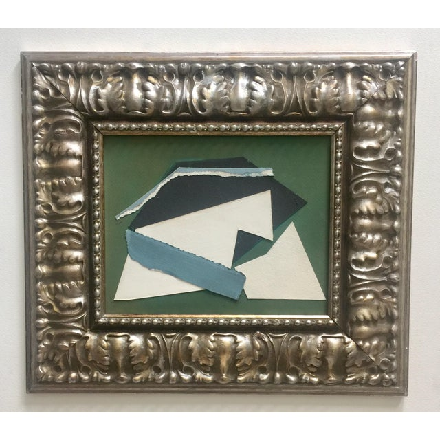Abstract Collage Green, White, Black and Blue For Sale - Image 4 of 4