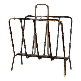 1950s Stitched Leather Magazines Rack by Jacques Adnet For Sale