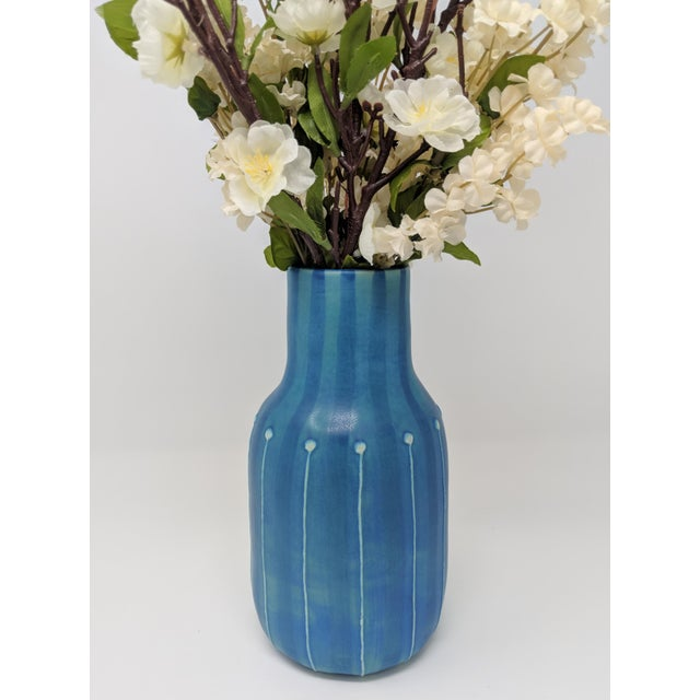 2010s Jonathan Adler Inspired Handmade Mid-Century Modern Stripped and Dotted Blue Vase For Sale - Image 5 of 12