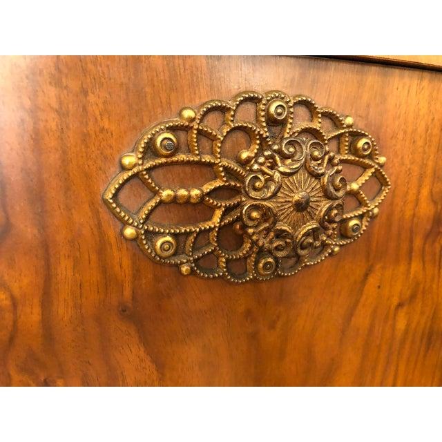 Brown 1950s Vintage Drop Door Liquor Cabinet With Mirrors For Sale - Image 8 of 9