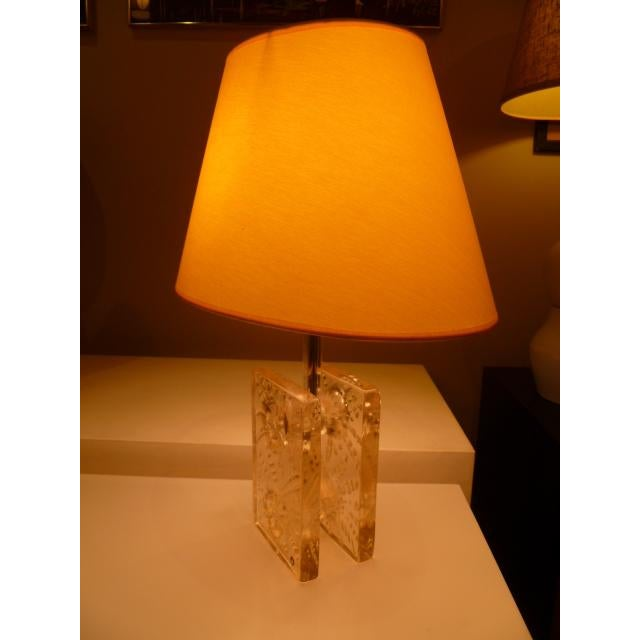 Yellow Scandinavian Modern Ice Glass Table Lamp by Pukeberg, Sweden 1960s For Sale - Image 8 of 12