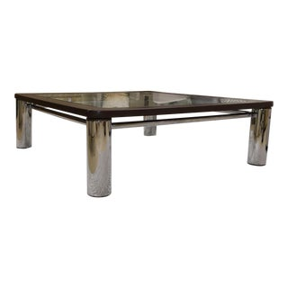Leon Rosen for Pace Leather Chrome and Glass Coffee Table For Sale