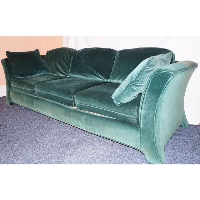 Broyhill Emerald Green Velvet Sofa - Image 6 of 7