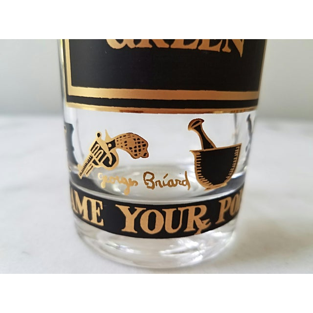 """Black Georges Briard """"Name Your Poison Glasses"""" Skull and Crossbones Glasses - Set of 8 For Sale - Image 8 of 13"""