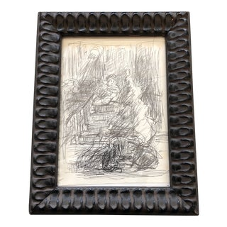 Small Original Ink Sketch Figures in Interior 1950's Study Drawing For Sale