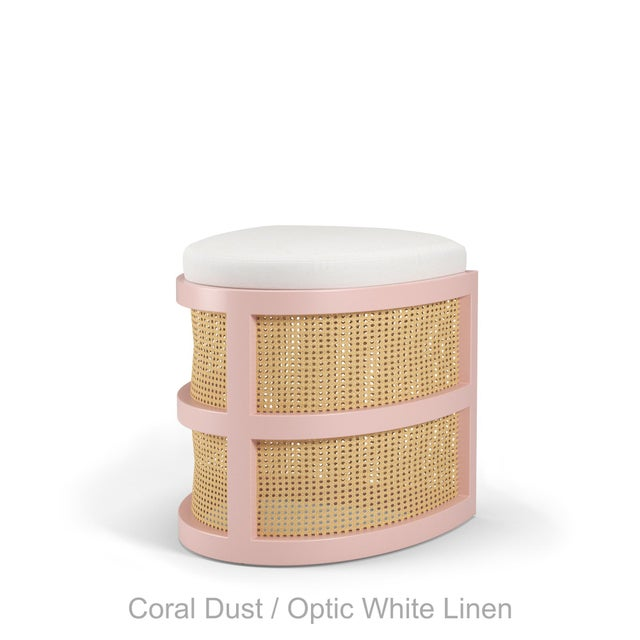Not Yet Made - Made To Order Isabella Demi Stool - Coral Dust, Optic White Linen For Sale - Image 5 of 5