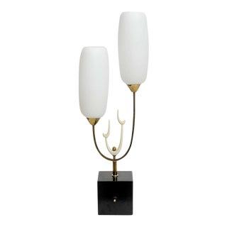 Italian Modern Brass Enamel and Glass Lamp, Arteluce For Sale