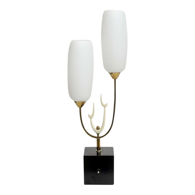 Italian Modern Brass Enamel and Glass Lamp, Arteluce For Sale