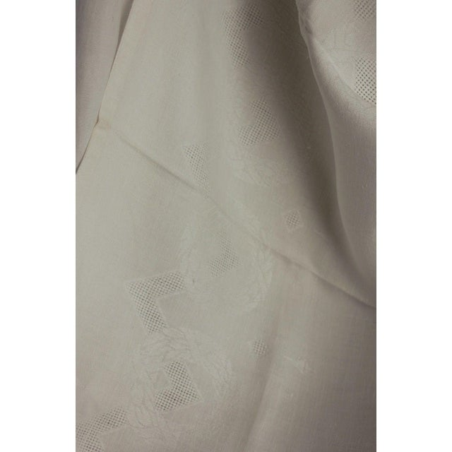 """Textile Vintage French White Linen Cotton Damask """"VT"""" Christmas Tablecloth - 62"""" x 90"""" For Sale - Image 7 of 9"""