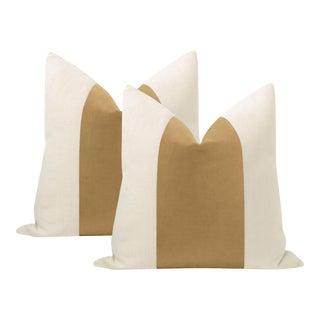 "22"" Camel Italian Velvet Panel & Linen Pillows - a Pair"