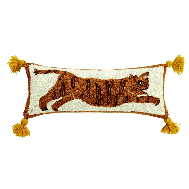 Tiger Pom Pom Hooked Wool Pillow For Sale