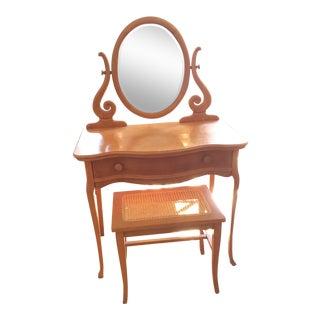 Vintage Birdseye Maple Vanity Table & Bench For Sale