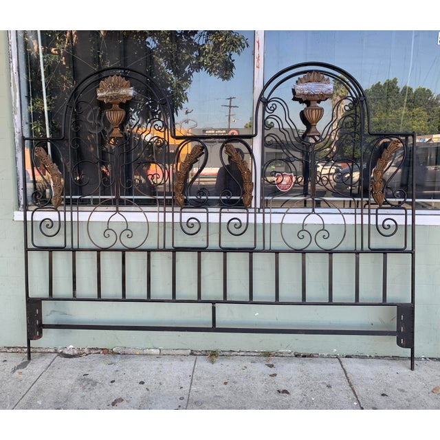 1960's wrought iron and wood accent carved headboard in good condition. Well made and it is super strong and sturdy....