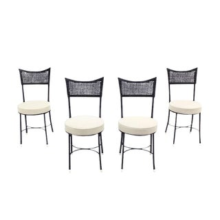 Four Cast Aluminum Faux Bamboo and Cane Round Seat Chairs For Sale