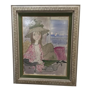 """Original Philippe Henri Noyer """"Lady by Window Next to Sea"""", 1967 For Sale"""