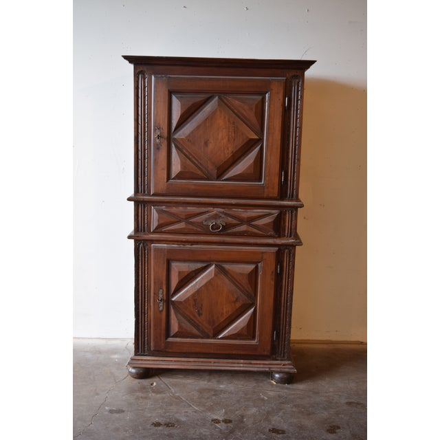 Brown 19th Century French Country Walnut Armoire For Sale - Image 8 of 12